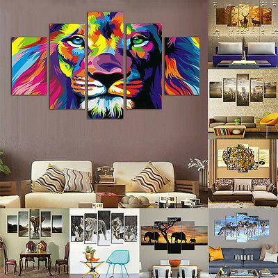 5Pcs/lot Modern Splicing Animal Canvas Wall Picture Print Oil Painting Home Deco
