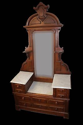 19th C. American Renaissance Carved Dresser - Drop Center Well Marble & Mirror