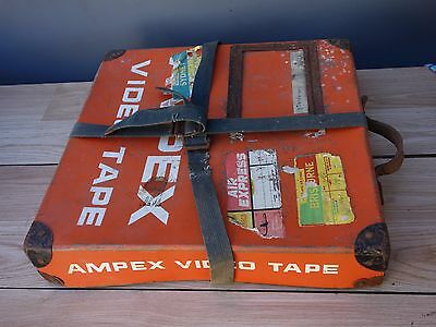 Vintage Ampex Film Projector Ansett Travel Box w/- Metal Reel to Reel Steampunk
