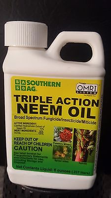 Southern AG Triple Action Neem Oil 8oz Fungicide Insecticide Miticide Mks 16 Gls
