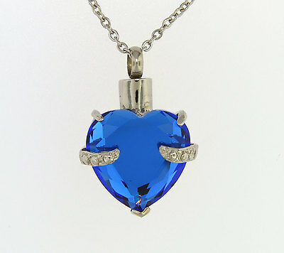 Blue Heart Cremation Jewelry Pendant Memorial Keepsake Urn Necklace with Funnel