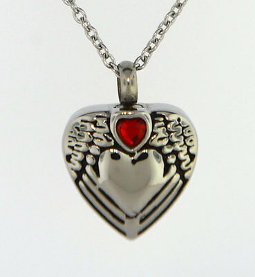 Small Red Heart On Angel Wings Around Heart Cremation Jewelry Pendant Urn Chain