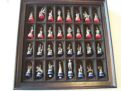 Franklin Mint Pewter  Waterloo War Chess Set Early Edition Very Clean Nice