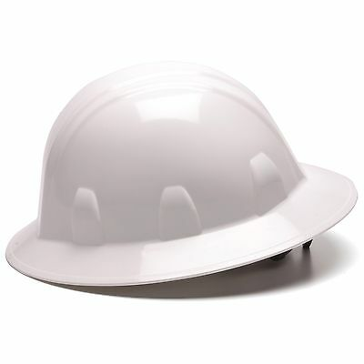 Pyramex Full Brim Hard Hat with 6 Point Ratchet Suspension, White