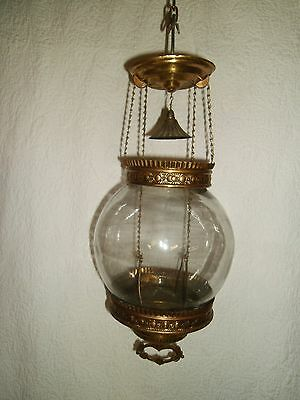 Antique Brass Retractable Pull Down Hanging oil candle Lamp Nice!!