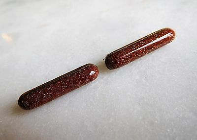 SWEET Pair of TWO MATCHING Antique Victorian Goldstone Pin Brooches