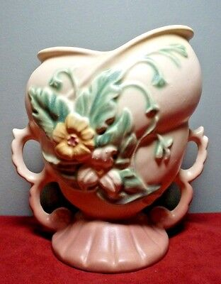 Vintage 1940's HULL Art Pottery WILDFLOWER Pattern DOUBLE-HANDLE VASE FLAWLESS!
