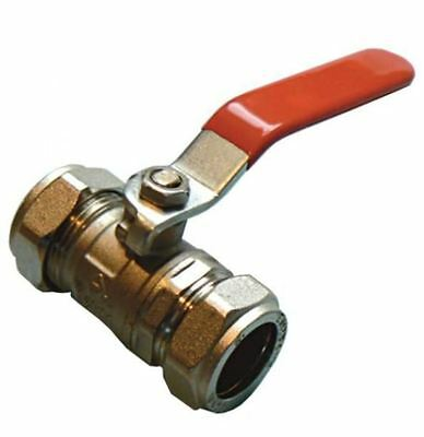 22mm Economy Lever Ball Valve - Red Handle - Bag of 2