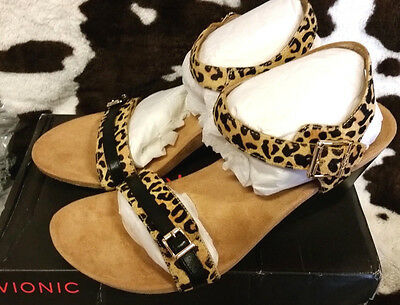 c7cddcd0717 Womens Vionic Size 9.5 TanLeopard Orthaheel Noble Laurie Wedge Sandals  FlipFlops