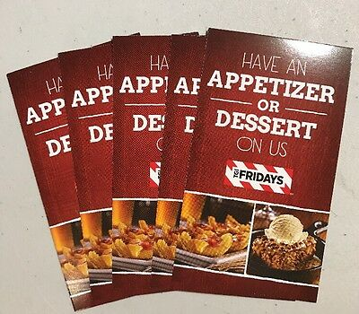 (5) TGI Fridays Coupon Cards Certificates For Free Appetizers -$40 No Expiration
