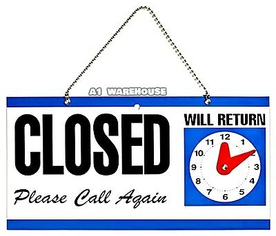 Double_Sided Plastic Open And Closed Sign With Return Time Clock New Sober