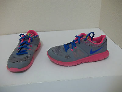 Youth Girls Nike Gray Pink Blue Running Athletic Shoes Size Us 1 Eur 32