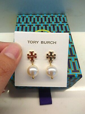 Authentic Tory Burch Evie Logo Pearl drop earrings gold real swarovski