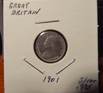 1901 Silver 3 Pence Great Britain UK English Coin