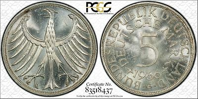West Germany 1966-G 5 Mark, KM-112, PCGS MS65, snowy white