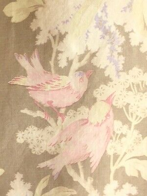 Antique French Fabric Floral Flowers Pink Birds Lilacs French 19th Century