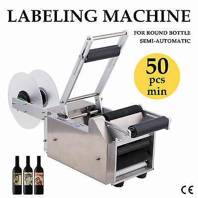 Semi-automatic Round Bottle Labeller Labeling Machine Stable Performance New