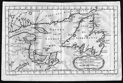 ca. 1750 Gulf of Saint Lawrence Saint-Laurent Canada map Karte engraving Bellin