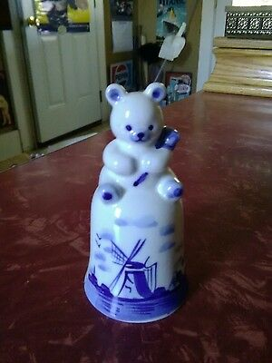 Vintage Hand Painted Delft Blue White Porcelain with bear Figurine bell