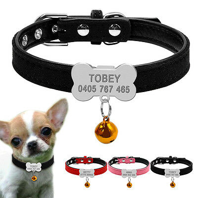 Personalized Pet Small Dog Name Collars Bone Shape Dog ID Tag Necklace with Bell