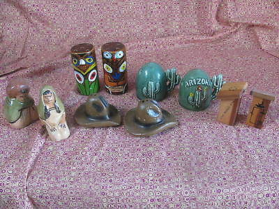 Lot of 5 vintage salt and pepper shakers Totem pole cactus cowboy hat outhouse