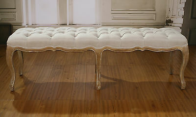 Ex-Display Bed End Stool Oak Ottoman French Provincial Upholstered Linen 160cms