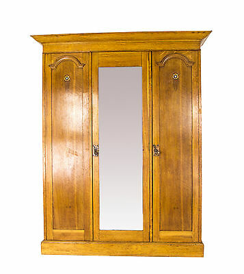 Antique Armoire | Antique Wardrobe | Triple Mirror Arts and Crafts Wardrobe B717
