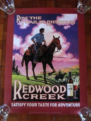 """FREI BROS. REDWOOD CREEK Vineyards Poster """"Ride The Trail To Richness"""""""