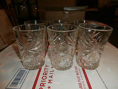 "Vintage Anchor Hocking Star of David Juice Glasses EAPC 4 1/2"" TALL - 8 Oz."