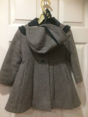 Vintage Rothschild Wool Coat with Hat Size 4 T Gray Green Velvet Trim