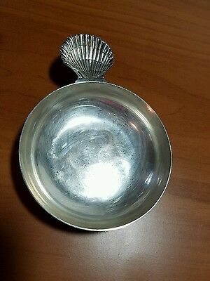 Vintage Tiffany & Co Makers Sterling Silver Porringer Dish Sea Shell Handle