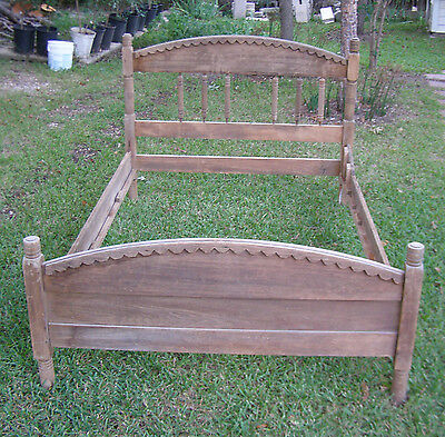 Antique Hand-Made Oak Single Twin Bed Frame