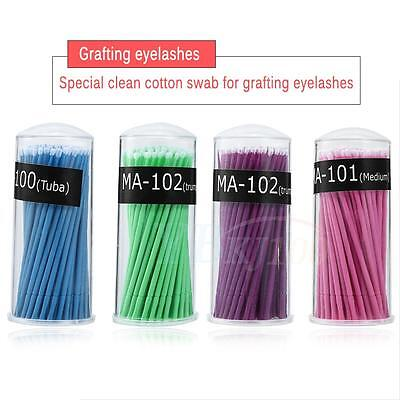 100 Pcs Disposable Swab Applicator Micro Brush Eyelashes Extension Mascara Tools
