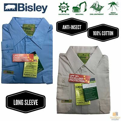 BISLEY Insect Protection Fishing Shirt Long Sleeve Casual Business Work Cotton