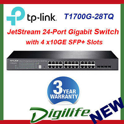TP-Link JetStream T1700G-28TQ 24 Port Gigabit Smart Switch w/4 x 10Gb SFP+