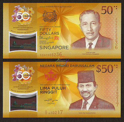 Singapore Brunei Set 2 Pcs 50 Dollars Ringgit Comm 2017 Polymer P-62 New Unc