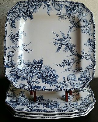 222 Fifth Adelaide Blue Square Dinner Plates French Toile Bird - Set of 4
