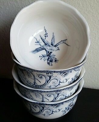 222 Fifth Adelaide Blue Soup Salad Cereal Bowls French Toile Bird - Set of 4