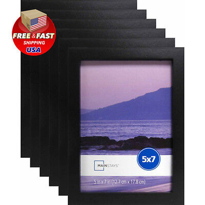 """5"""" x 7"""" Wood Linear Wall Mounted Picture Photo Frame Set of 6 Home Decor Black"""