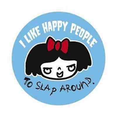 MEANY DOODLES 1.5-inch BADGE Button Pin I Like Happy People NEW OFFICIAL MERCH