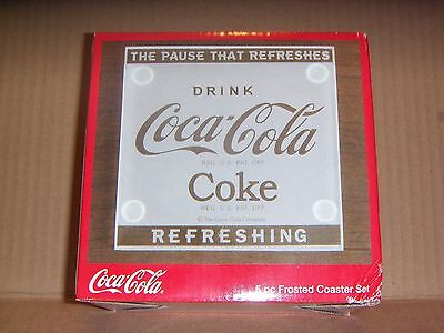 NEW!  Coca-Cola Frosted Glass Coasters - SET OF 4 / DRINK COCA-COLA COKE