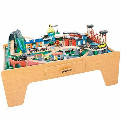 Wooden play table picclick uk for 100 piece cityscape train set and wooden activity table