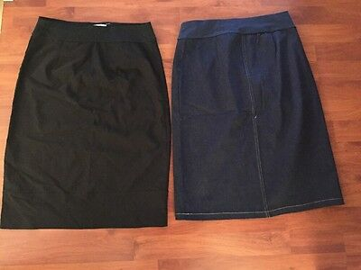 2 x Maternity Pencil Skirts Size Small Black And Demin - Excellent Condition