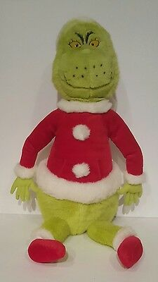 "How the Grinch Stole Christmas 22"" Plush Doll in Santa Suit Green Stuffed Animal"