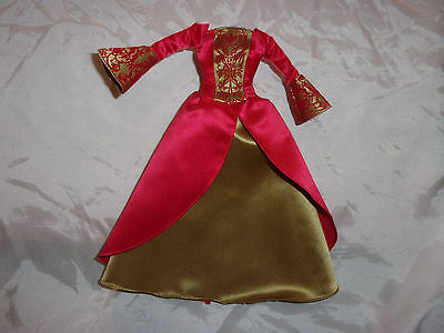 Vintage Barbie Doll FASHION AVENUE Dress Gown Red & Gold MATTEL