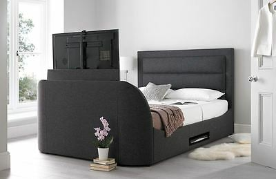 Happy Beds Hollywood TV Bed Gabon Grey Fabric Frame Television Modern Furniture