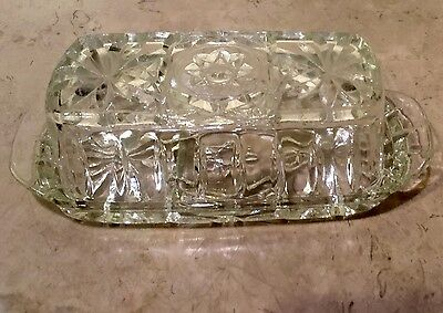 Vintage Anchor Hocking Star Of David Clear Glass Covered Butter Dish EAPC