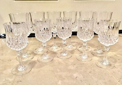 CRISTAL D'ARQUES LONGCHAMP Set of 11 Lead Crystal Water/Wine Goblets/Glasses