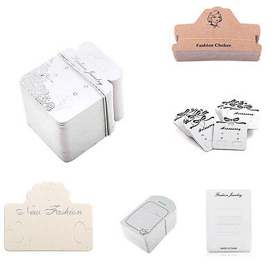 Multi shape 100x Jewelry Handing Holder Display Paper Card For Earrings Necklace