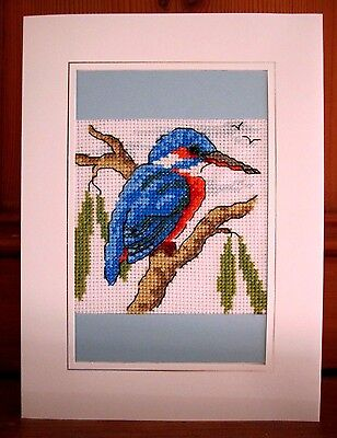 handmade completed cross stitch card 8 x6 kingfisher any occasion personalise picclick uk. Black Bedroom Furniture Sets. Home Design Ideas